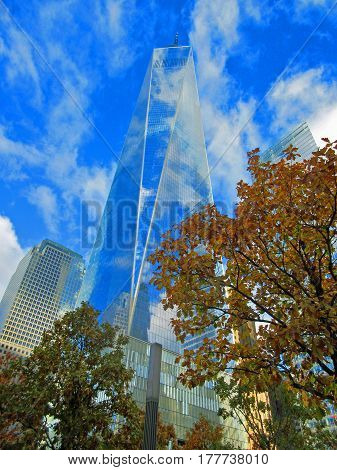 Clouds Reflected in One World Trade Center (Freedom Tower): November 4, 2016