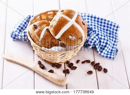 Easter Cross-buns In A Rustic Basket