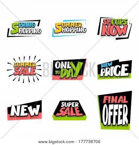 Big set sale advertising web label badge. Vector colorful illustration offer best price and discount. Special offer colored tag. Summer, Spring, Winter sticker rates.