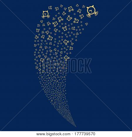 Buzzer random fireworks stream. Vector illustration style is flat yellow iconic symbols on a blue background. Object fountain organized from scattered icons.