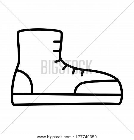 Boot digital icon. Thin flat line icon of a shoe. Single symbol for web design or mobile app. Vector sing for design logo, visit card, corporate identity. Isolated on white background illustration.