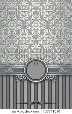 Vintage background with decorative silver borderframe and old-fashioned patterns.