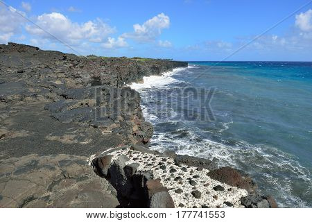 Old Lava Shoreline And Pacific Ocean In Volcanoes National Park, Big Island Of Hawaii