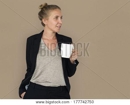 Caucasian Woman Coffee Smiling