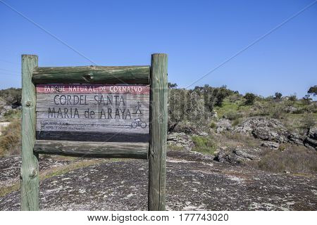 Trujillanos Spain. March 15 2017: Royal cattle track signpost. Cordel de Santa Maria Araya at Cornalvo Natural Park Extremadura Spain