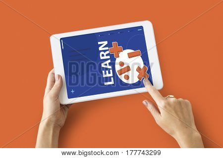 Illustration of mathematics solution lessons on digital tablet learning technology