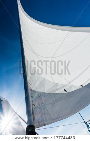 Sailing Yacht Catamaran Sailing In The Sea. Sailboat. Sailing.