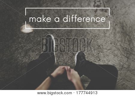 Man Half Body and Make A Difference Word Graphic
