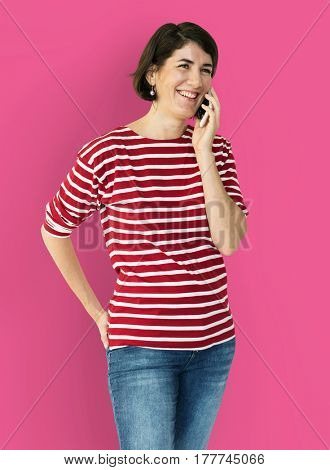 Adult Woman Call Mobile Phone Communication