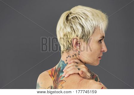 Woman Back View with Tattoos