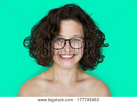 A happiness girl with eyeglasses smiling