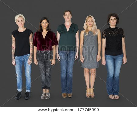 Group of women standing in a row together
