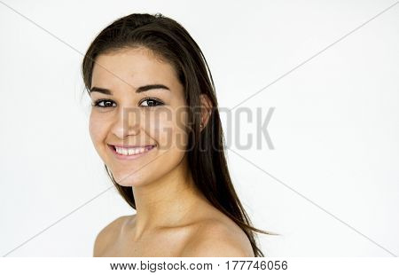 Beautiful caucasian woman portrait shoot with shirtless and smiling