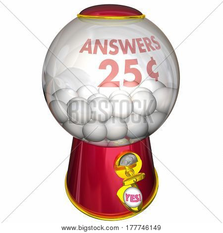 Answers Gum Ball Machine Yes Positive Response 3d Illustration