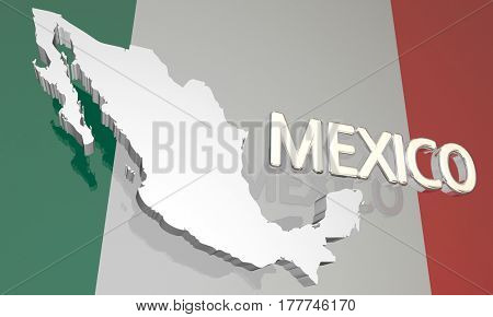 Mexico Country Nation Map North America Flag 3d Illustration