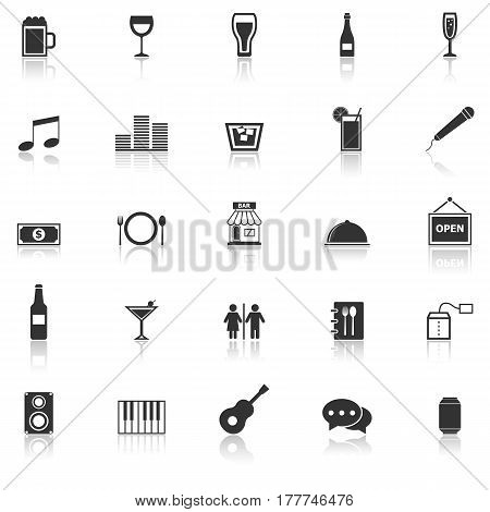 Bar icons with reflect on white background, stock vector