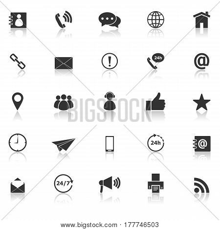 Contact us icons with reflect on white background, stock vector