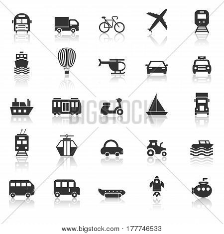 Transportation icons with reflect on white background, stock vector