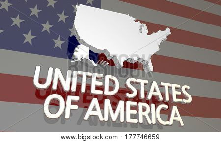 USA United States of America France Country Nation Map 3d Illustration