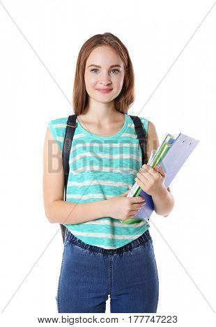 Cute teenage girl with backpack isolated on white