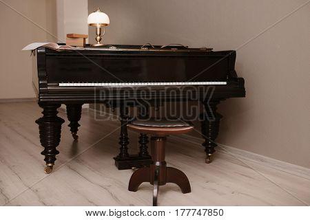 Piano in empty classic room