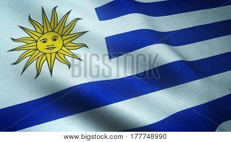 Realistic Flag Of Uruguay