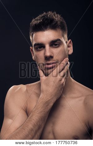 One Young Man, Shirtless Hand Touching Face Head