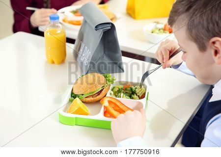 School boy eating delicious homemade food from lunch box in cafeteria