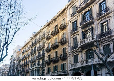 Cityscape in Barcelona Europe - street view of Old town in Barcelona, Spain