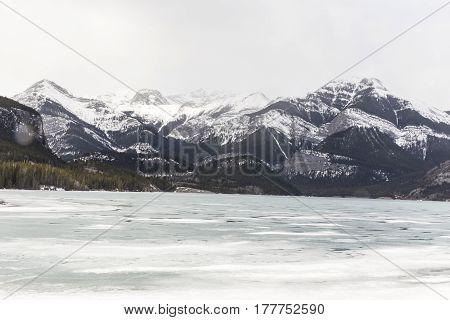 The Rocky Mountains landscape in a winter scene