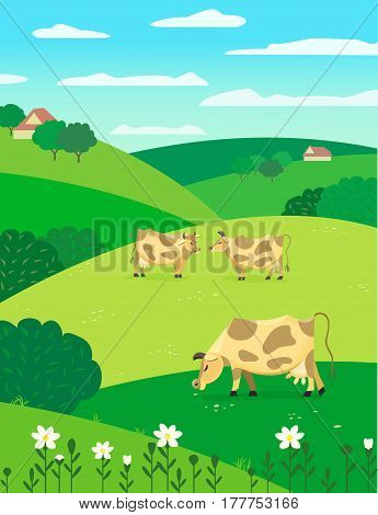 Country green landscape. Freehand drawn cartoon style. Herd of grazing cows on blooming meadow. Rural community farm houses scene view on hills, fields, trees. Vector outdoors countryside background