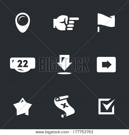 Pointer, hand, flag, address, arrow, direction, star, map, checkmark.