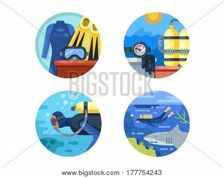 Diving icon set. Under water with fins and scuba in wet suit. Vector illustration. Pixel perfect icons size - 128 px