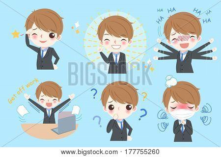 cute cartoon business man do different emotion