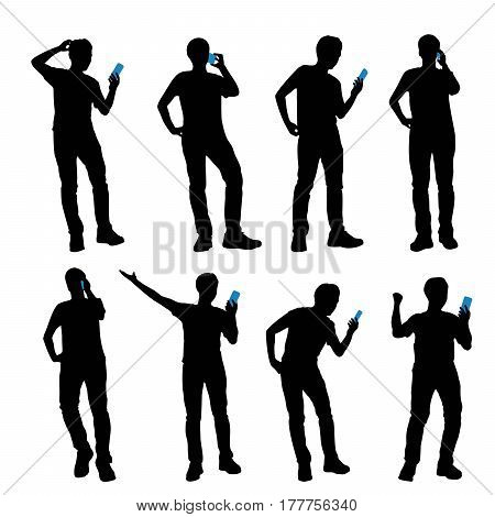 silhouette of man talk on phone with white background