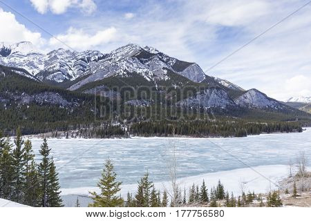 The Rocky mountains in the winter season