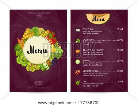 Vegan cafe food menu design vector illustration. Vegetarian restaurant menu, price catalog of vegan nutrition, organic food shop, healthy diet retail. Menu card template with vegetable elements