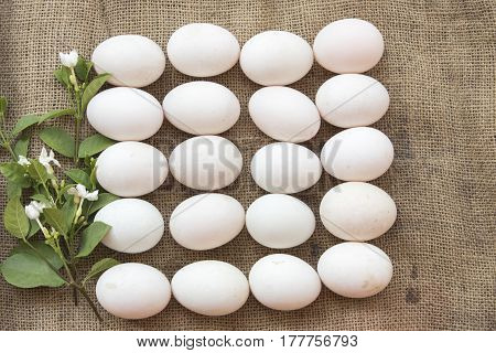 super foods eggs duck raw prepare to cook on old sack