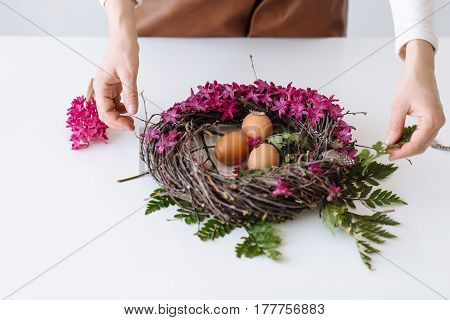 Easter Bouquet In The Form Of A Nest