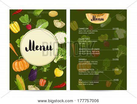 Vegan cafe food menu design vector illustration. Vegetarian restaurant menu, price catalog of vegan nutrition, organic food shop, healthy diet retail. Menu card template with vegetable elements