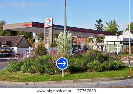 Verneuil sur Seine; France - october 16 2016 : roundabout and gas station in the city center
