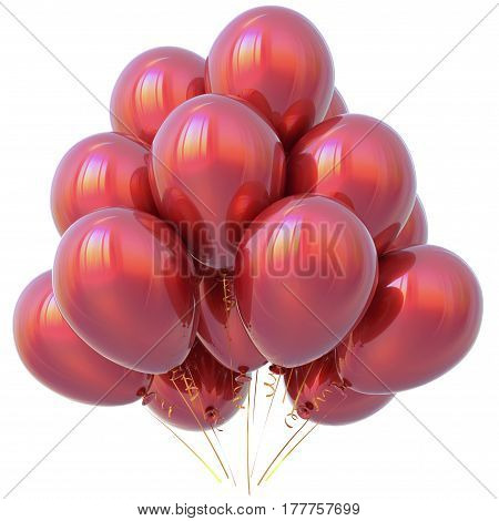 Happy birthday party balloons red decoration scarlet glossy. 3D illustration isolated