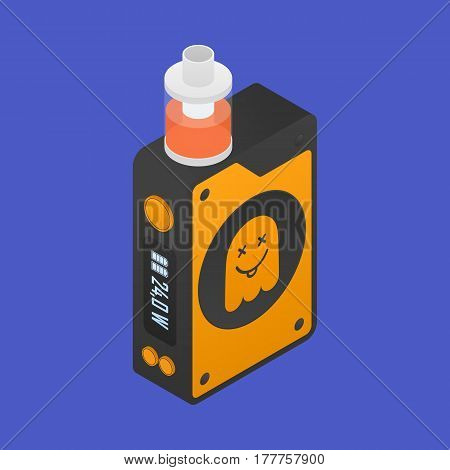 Isometric Icon of Vape device with ghost silhouette. Electronic cigarette with e-liquid. Vector Vaping symbol. Box mod with Rebuildable tank atomizer, clearomizer, cartomizer. Vector illustration