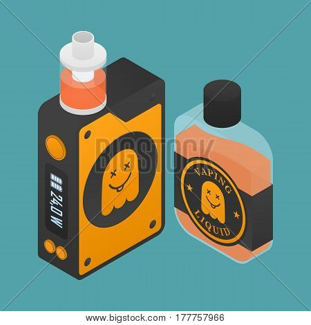Isometric Icon of Vape device with ghost silhouette. Electronic cigarette with e-liquid bottle. Vector Vaping symbol. Box mod with Rebuildable tank atomizer, clearomizer, cartomizer.