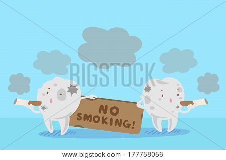 cute cartoon tooth with smoking problem with blue background