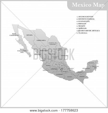 The detailed map of the Mexico with regions or states