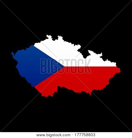 The detailed map of the Czech Republic with national Flag