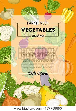 Fresh farm food banner vector illustration. Natural vegetable, organic farming retail, vegan product store poster. Healthy farm food advertising with tomato, pepper, radish, broccoli, pumpkin, cabbage