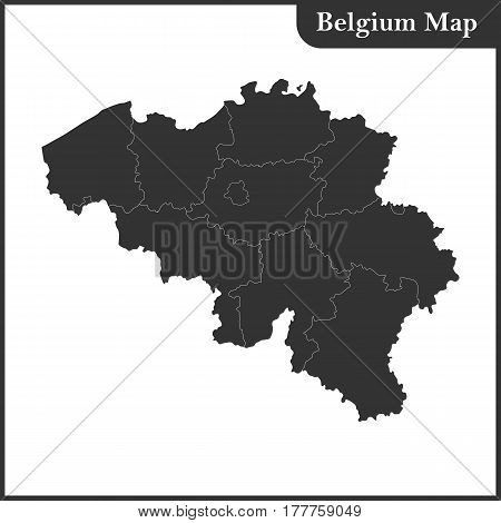 The detailed map of the Belgium with regions