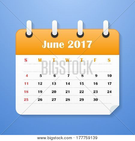 European Calendar for June 2017. Week starts on Monday. Vector illustration